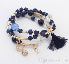 beaded elastic bracelet images Hot sale mix beads bracelets women 3 rows tassel pendant bracelet jpg