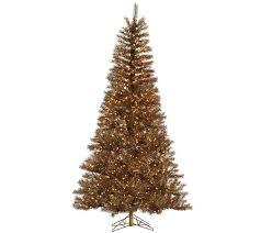 7 5 copper tinsel tree w clear dura lit lights by vickerman qvc
