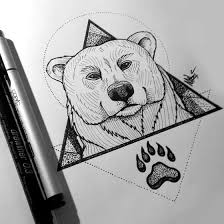 bear head with paw print tattoo design by mary