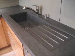 Dark Gray Concrete Counter With Light Contrasting Base In Tan - Funky kitchen sinks