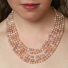 natural pink pearl necklace images Multicolor pink pearl multi strand statement necklace natural jpg