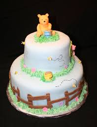 classic pooh baby shower all decorations made with fondant and