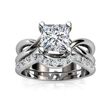 princess cut wedding set platinum princess cut twist shank solitaire wedding set union