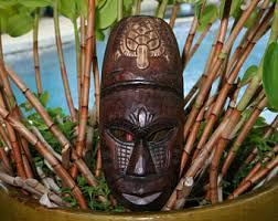 wooden tiki mask etsy
