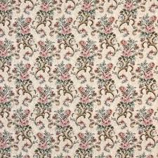 pink beige and green floral tapestry upholstery fabric by the yard