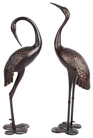 bronze garden crane pair statue upright and preening set