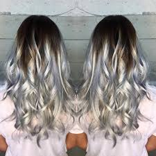 silver brown hair high contrast icy silver color melt hair colors ideas