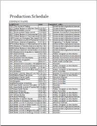 formal production schedule template word document templates