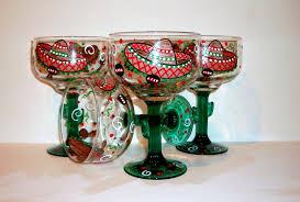 halloween goblets margarita glasses sombreros u0026 maracas hand painted set of 4