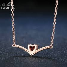 silver chain pendant necklace images Lamoon elegent 4mm natural heart red garnet 925 sterling silver jpg
