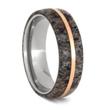 antler wedding ring deer antler wedding band with gold pinstripe titanium ring