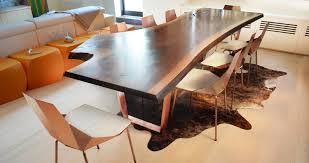 reclaimed wood dining table nyc concave copper live edge custom furniture and architectural