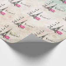 eiffel tower wrapping paper personalized pink eiffel tower wrapping paper zazzle