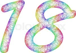 18 years anniversary rainbow sketch font design from colorful