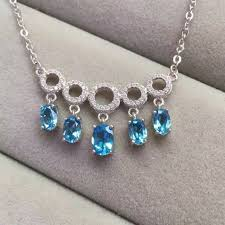 topaz stone necklace images Natural blue topaz stone necklace natural gemstone pendant jpg