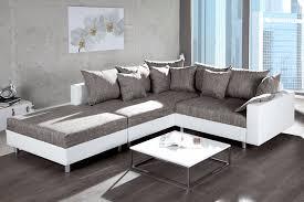 sofa federkern design ecksofa mit hocker loft weiss strukturstoff grau federkern