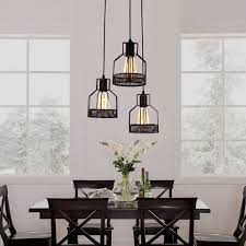 dining room pendant light rustic black metal cage dining room pendant light with 3 lights