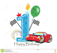 first birthday greeting card car vector illustration background