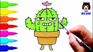 how to draw cactus tree cartoon cute coloring pages for kids