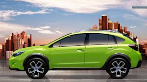 green subaru side view of subaru xv concept wallpaper