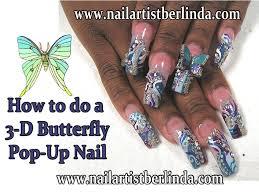 3 d pop up butterfly nail art by nail artist berlinda youtube