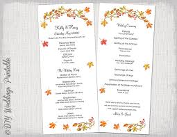 fall wedding programs fall wedding program template fall leaves