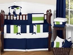 Green And White Crib Bedding Navy Blue Lime Green White Stripes Baby Boys Room Crib Bedding