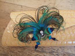 peacock feathers butterfly bag corsage clip