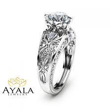 2 carat diamond engagement ring unique 14k white gold engagement