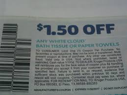 White Cloud Bathroom Tissue - 15 coupons 1 50 1 white cloud bath tissue or paper towels 11 30