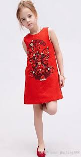 brand designer girls embroidery vest dress autumn and winter a