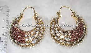 dangler earrings chand bali hoop polki dangler earrings buy indian polki and