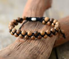bracelets vintage wood black cord shamballa bracelet handmade