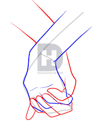 how to draw holding hands step by step drawing guide by