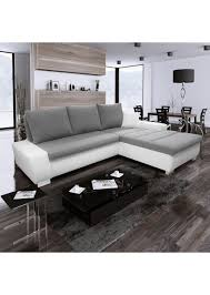 canapé d angle convertible cuir blanc canapé d angle convertible en simili cuir blanc et tissu gris