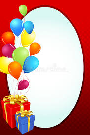 birthday card with gift and balloon stock illustration image