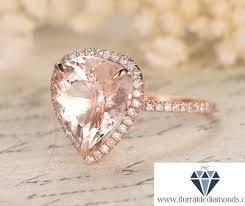 pink morganite 10x12mm pear shape pink morganite engagement ring diamond pave