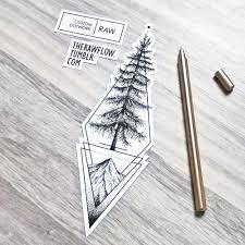 table de tatouage dotwork geometric cedar tree tattoo design made for alec