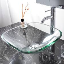 Basin Sink by Bathroom Tempered Glass Vessel Sink Natural Clear Square Shape