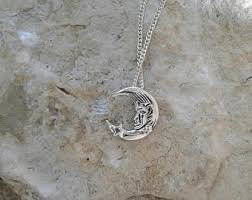 silver moon necklace pendants images Silver moon necklace etsy jpg
