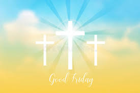 friday background with white cross and sun rays in the sky