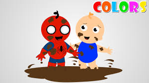 spiderman baby elsa baby playing mud color video spiderman