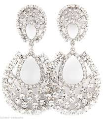 Black And Silver Chandelier Earrings Big Crystal Rhinestone Chandelier Clip On Earrings 3