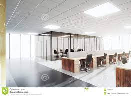 modern light open space office with conference room stock photo