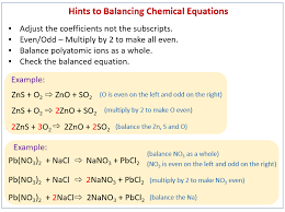 balancing chemical equations solutions examples s