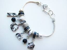 black bead bracelet with charm images Black white fashion purse charm bead bracelet pandora inspired JPG