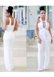 white jumpsuit white lace up hollow out pockets peplum high waisted wide leg