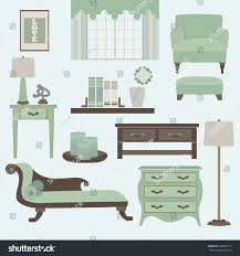 living room furniture accessories color teal stock vector