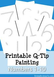 q tip printable numbers 1 10 free printables pinterest