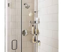 bathroom lovely plastic shower caddy for bathroom storage ideas stainless steel shower caddy before the white wall plus frameless shower door for bathroom decor ideas
